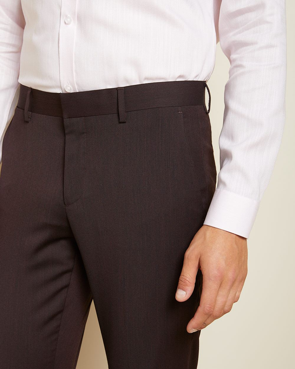Slim Fit Dark Burgundy wool-blend Traveler suit pant