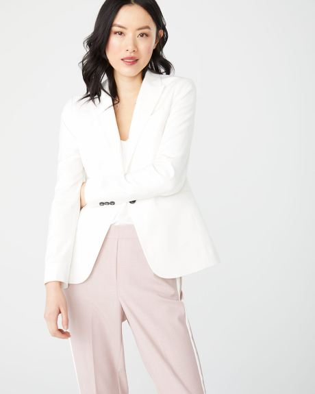 stretch white Fitted blazer