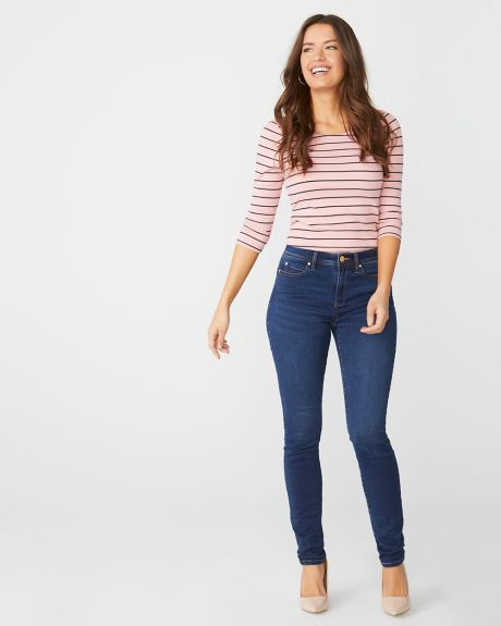 Natalie Mid-rise jegging in rinse wash denim - 32''