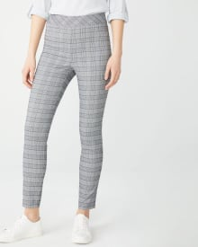 C&G Grey and blue plaid City legging pant - 28''