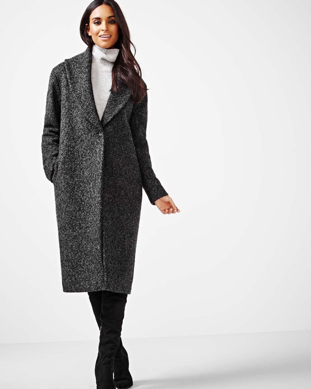 8a096a3110f Manteau long en mélange de laine