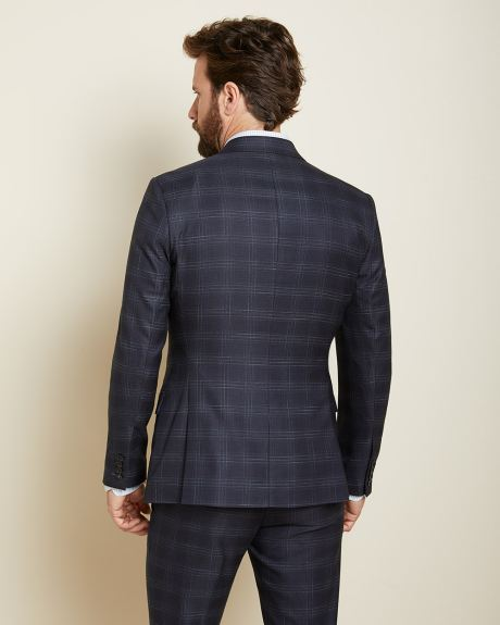 Slim fit checkered navy blue suit blazer