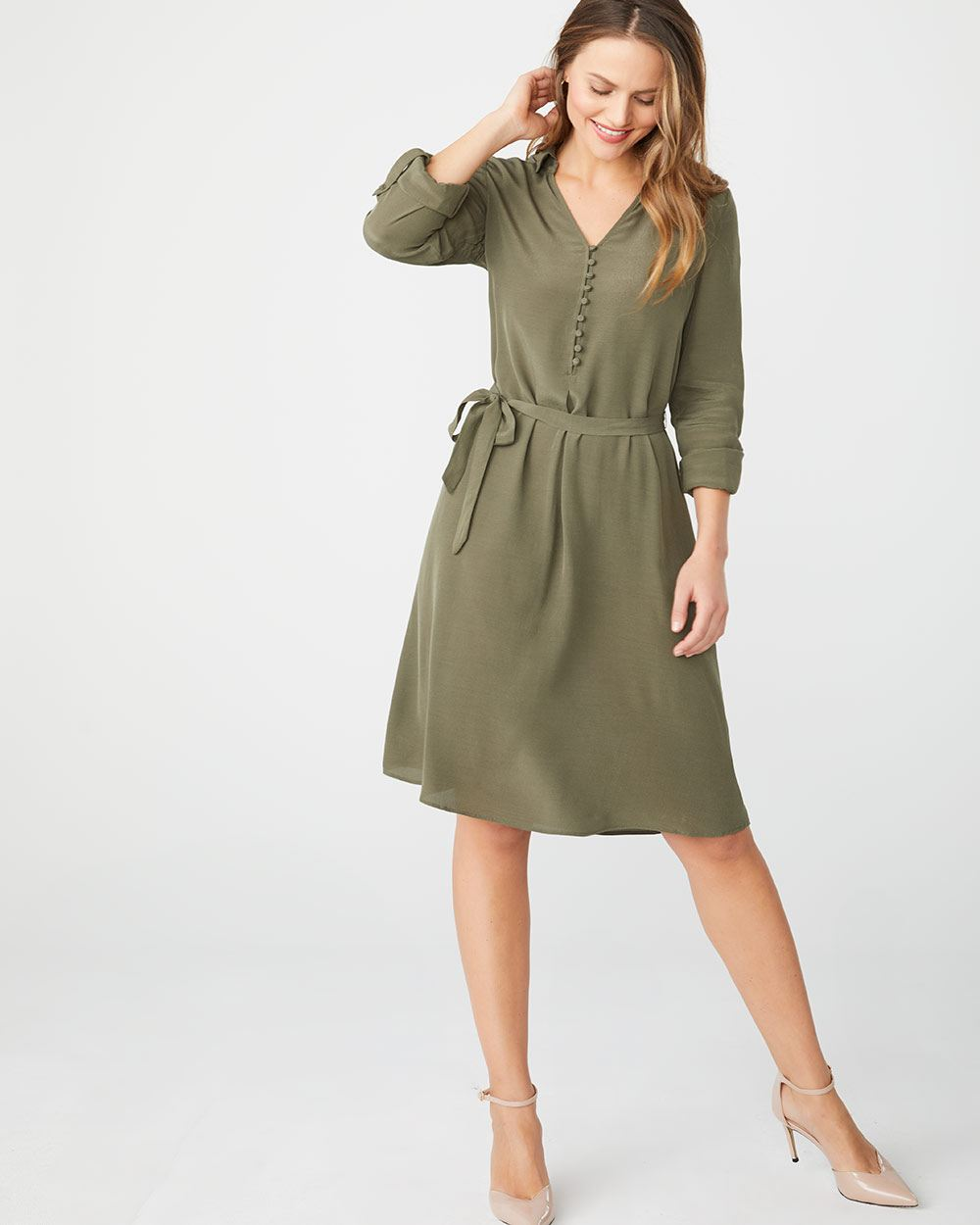 Belted shirtdress with rolled-up sleeve
