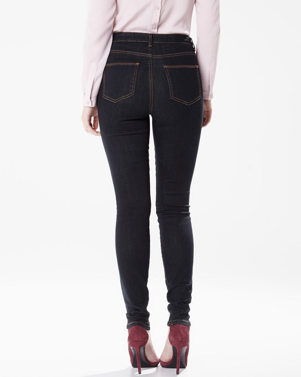 High waist skinny jeans in dark blue rinse | RW&CO.