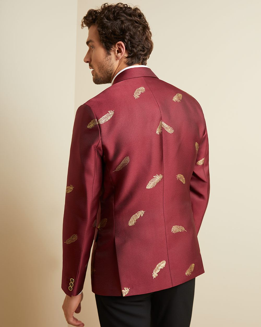 Slim fit bright red suit blazer with gold feathers