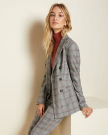 Fitted Double-breasted flannel plaid blazer