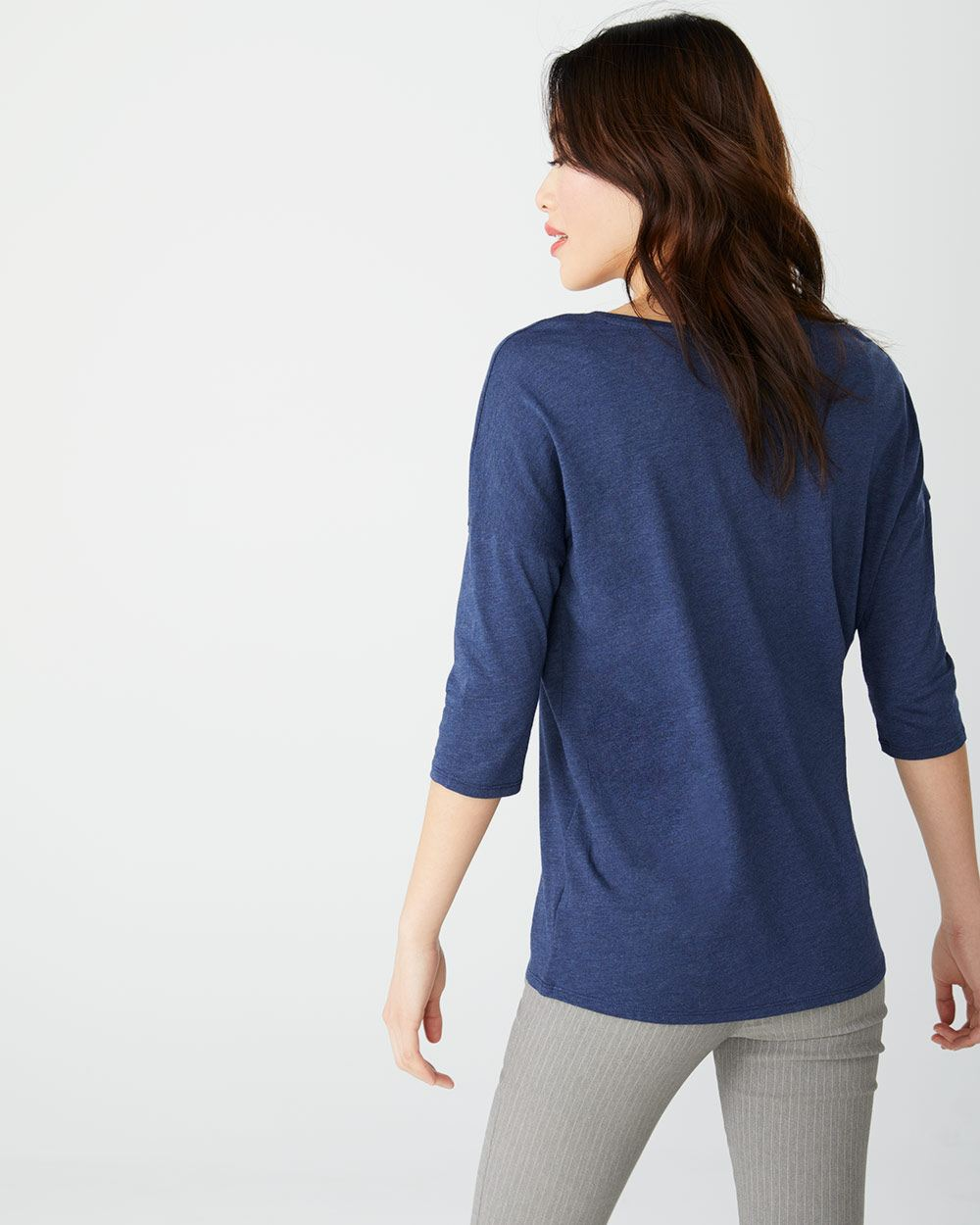 C&G V-neck cotton and modal 3/4 sleeve t-shirt