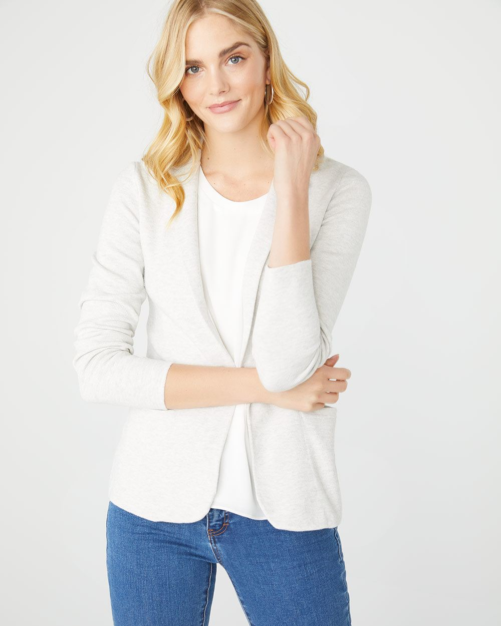 Fancy stitch blazer-style cardigan