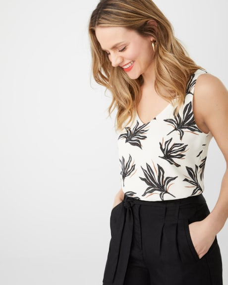Printed silky crepe Cami Blouse