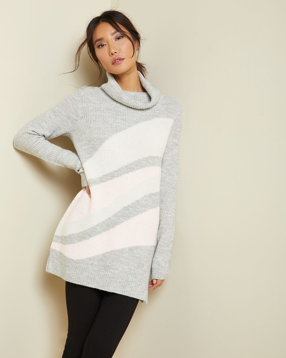 Abstract pattern cowl-neck sweater