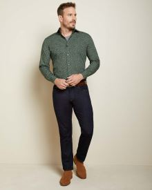 Athletic fit green floral dress shirt