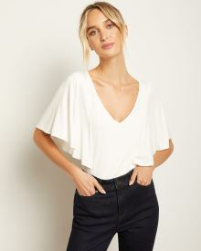 Mixed Media V-Neck T-Shirt With Flutter Sleeves