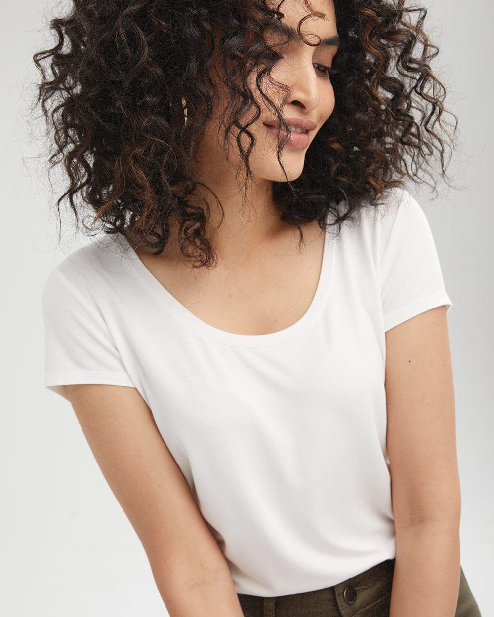 Cap Sleeve Scoop-Neck T-Shirt