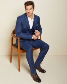 Essential Slim Fit blue wool-blend suit Pant - Tall
