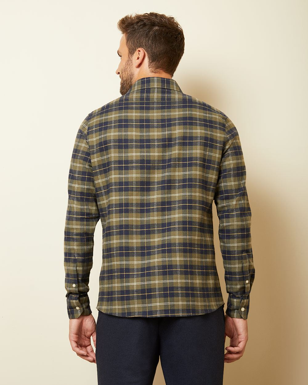 Tailored fit green plaid shirt
