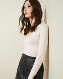 Cashmere-like V-neck Sweater with pointelle stitch