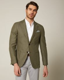 Slim fit dark green linen-blend blazer