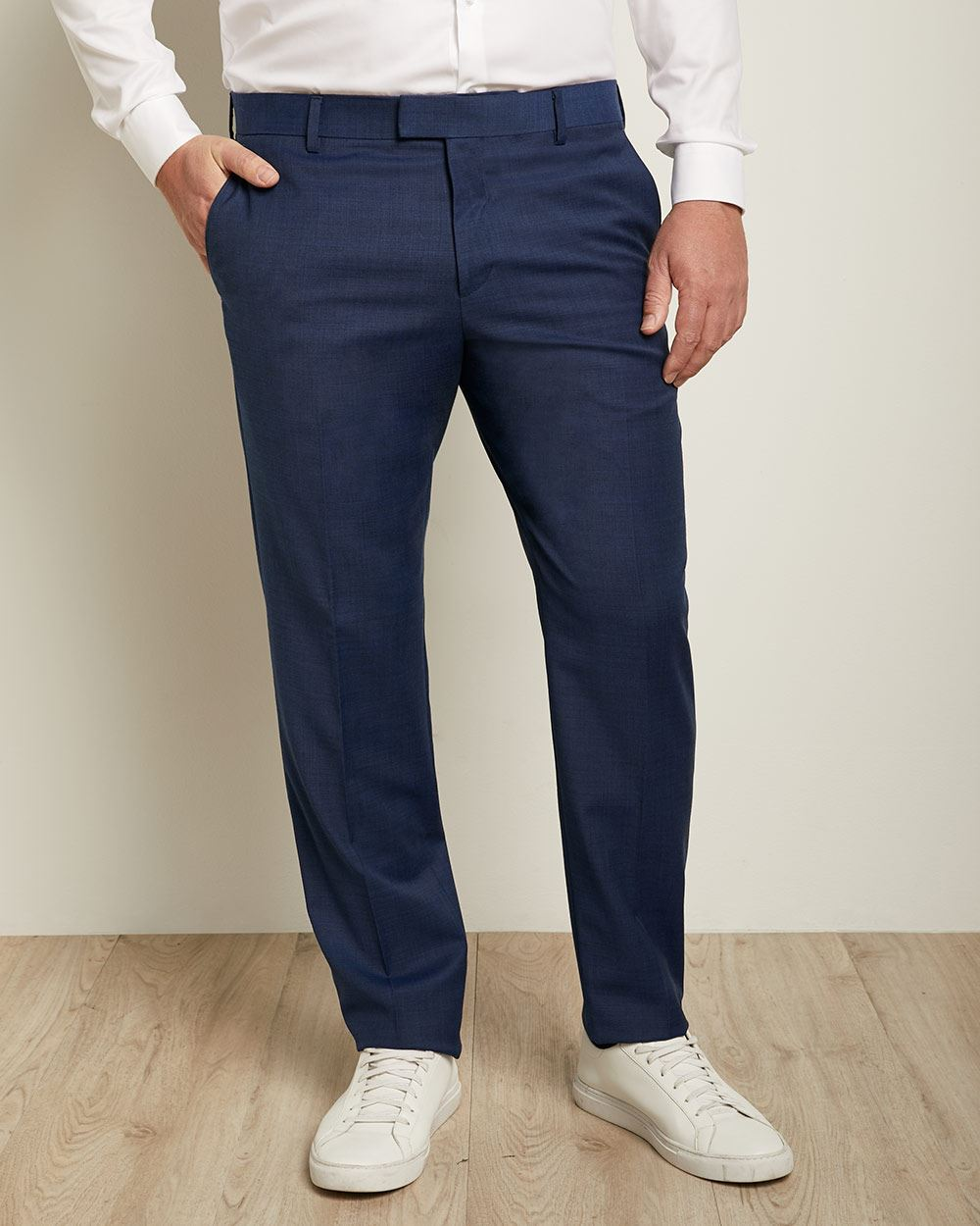 Essential Regular Fit Blue Wool-Blend Suit Pant