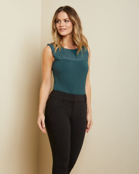 Mesh-trimmed sleeveless top