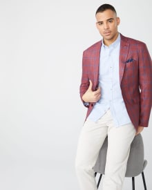 Athletic fit Checkered linen blazer