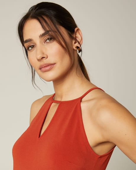 Halter Crepe cami with keyhole