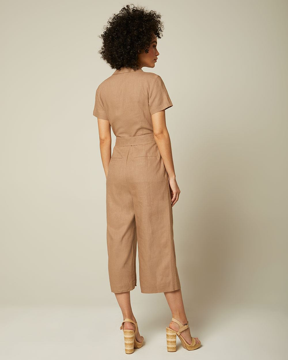 Crossover Shirt Collar And Wide Leg Jumpsuit