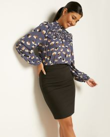 Solid High-Waist Pencil Skirt - 21''