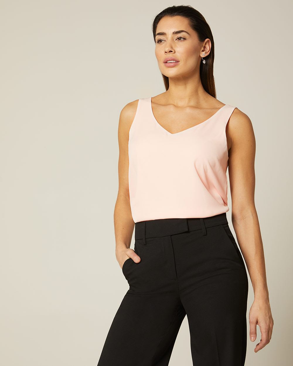 c4afdca2053e21 Solid Silky Crepe Cami Blouse