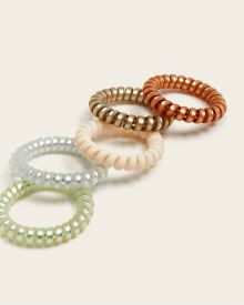 Shiny Spiral Hair Elastics - Pack of 5