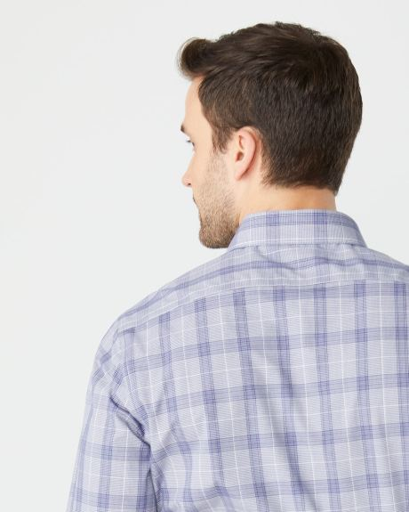 Tailored fit navy check dress shirt