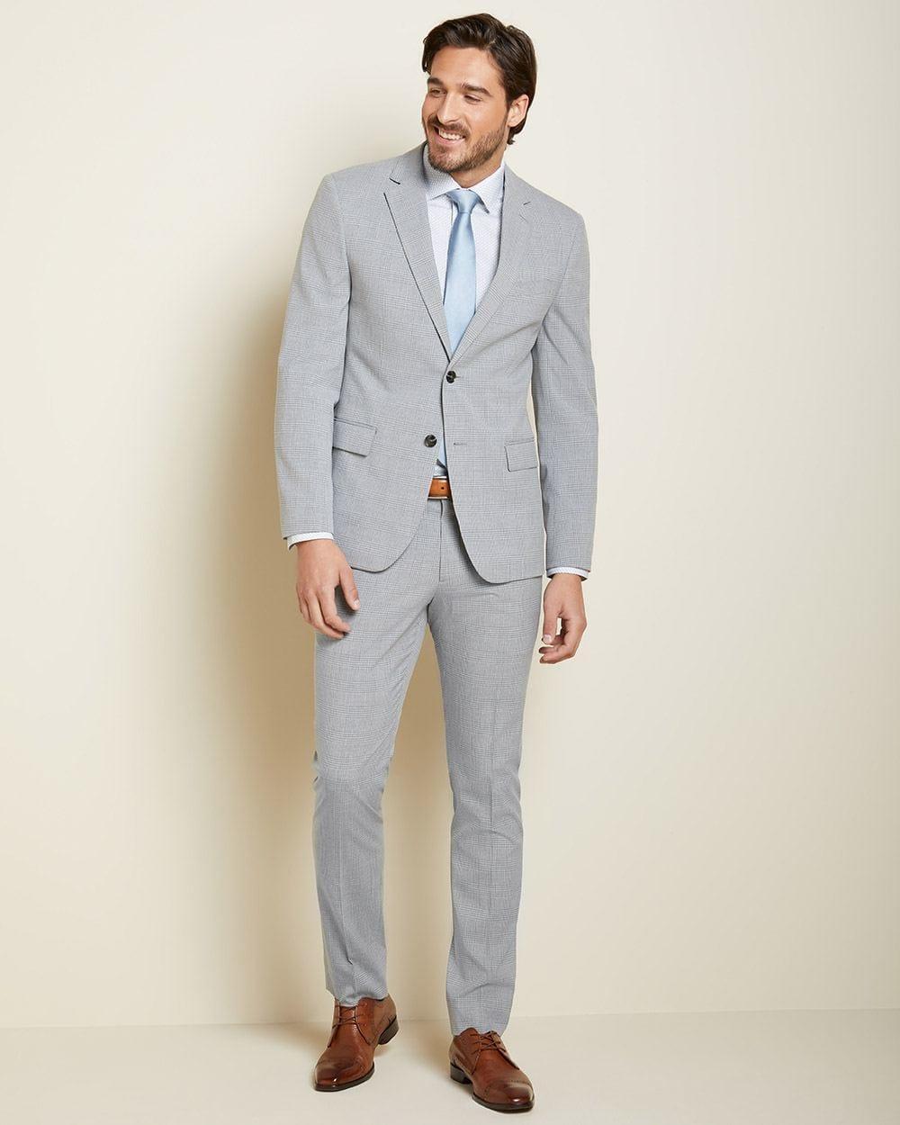 da02ce45725b8 Slim Fit light grey check suit Pant