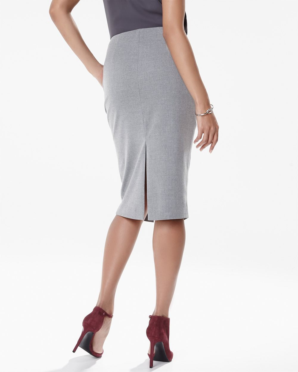 flannel twill pencil skirt with slits rw co