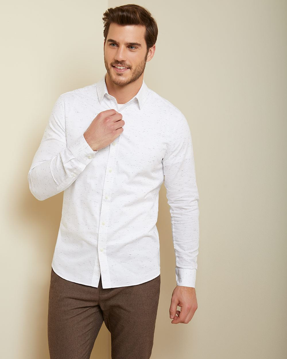 Slim fit slub shirt