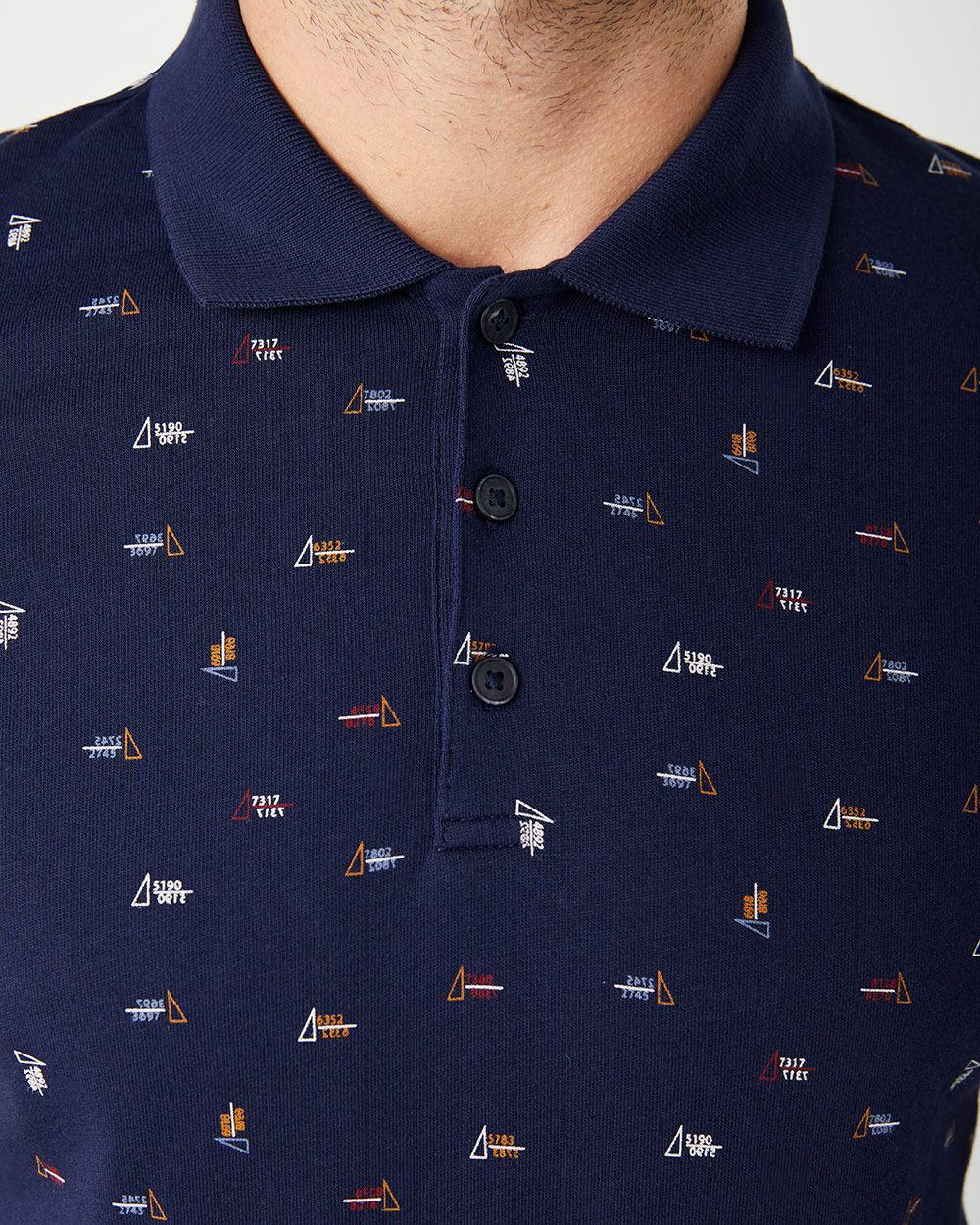 Short sleeve printed jersey polo