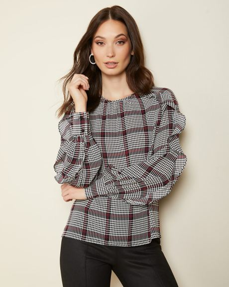 Frilled sleeve popover blouse