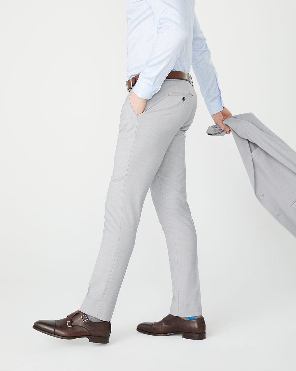 Pantalon de complet Essentiel extensible Coupe étroite Gris pâle chiné - Long