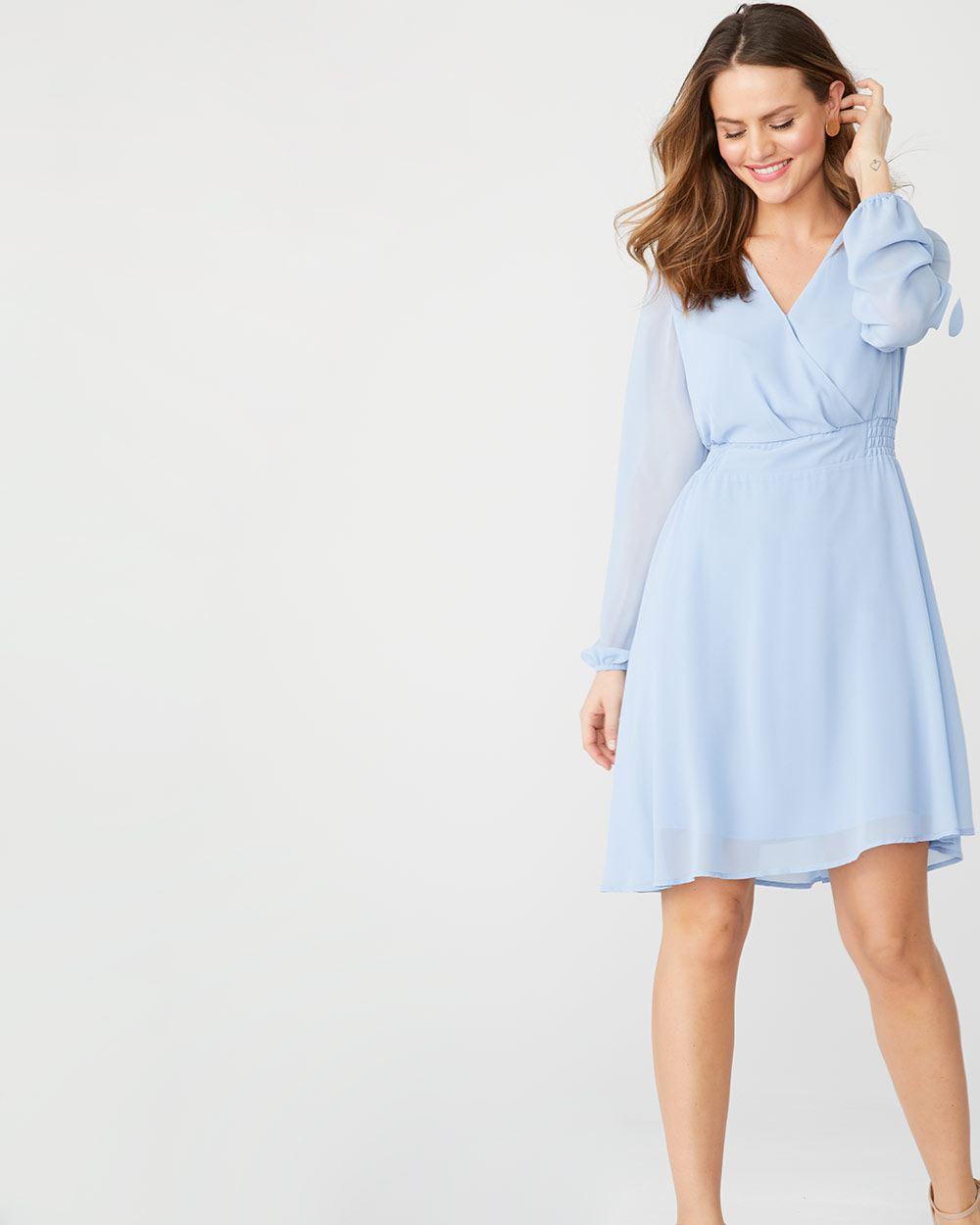 Long sleeve Chiffon faux-wrap dress  0b4b35ffd
