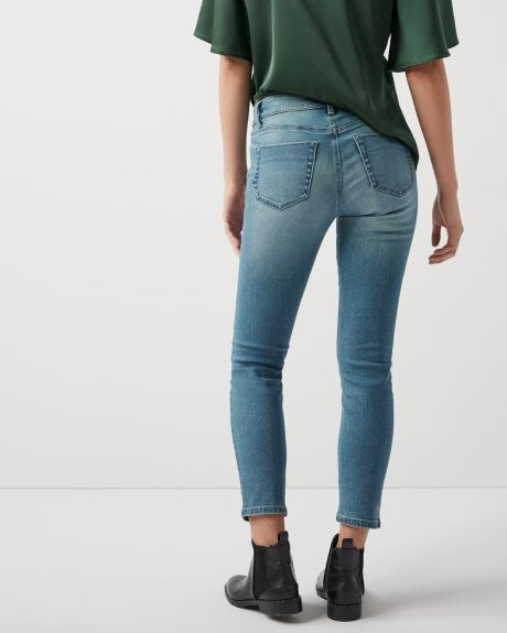 Pearl-embellished Mid-rise skinny jeans