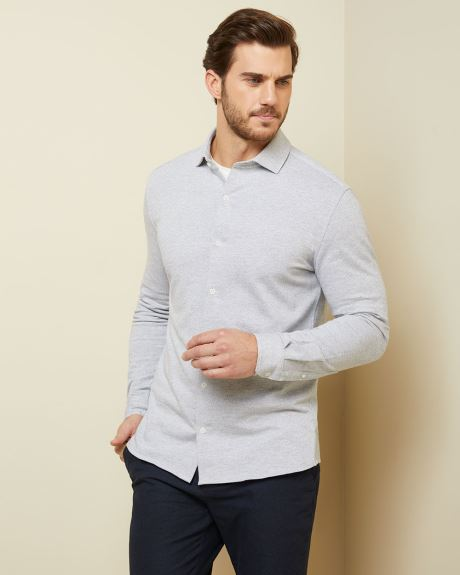 Slim fit herringbone knit shirt
