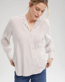 Long Sleeve High Twist Diagonal Wrap Blouse