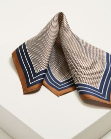 Brown and navy pocket square