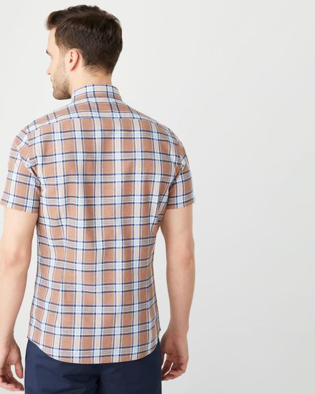 Slim Fit short sleeve checkered linen-blend shirt