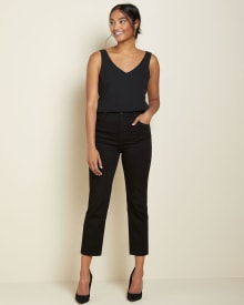 High-rise straight leg jeans in black denim