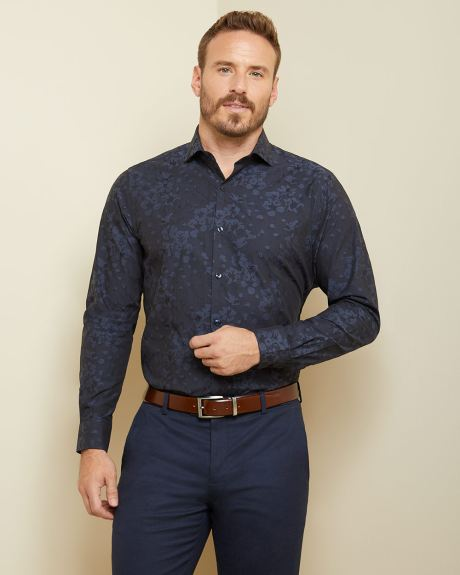 Athletic fit floral jacquard dress shirt