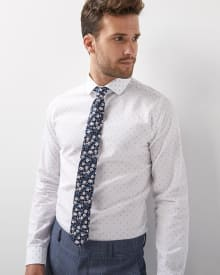 Slim fit mini geo clipping Dress shirt