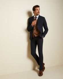 Slim fit Camel check suit pant