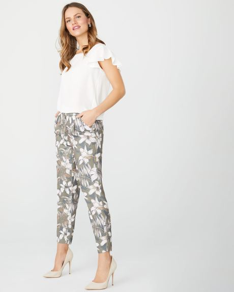 Floral crepe ankle pull-on pant with drawstring