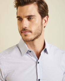 Slim fit micro pattern dress shirt