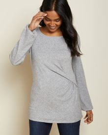 Brushed knit tunic t-shirt with side twist