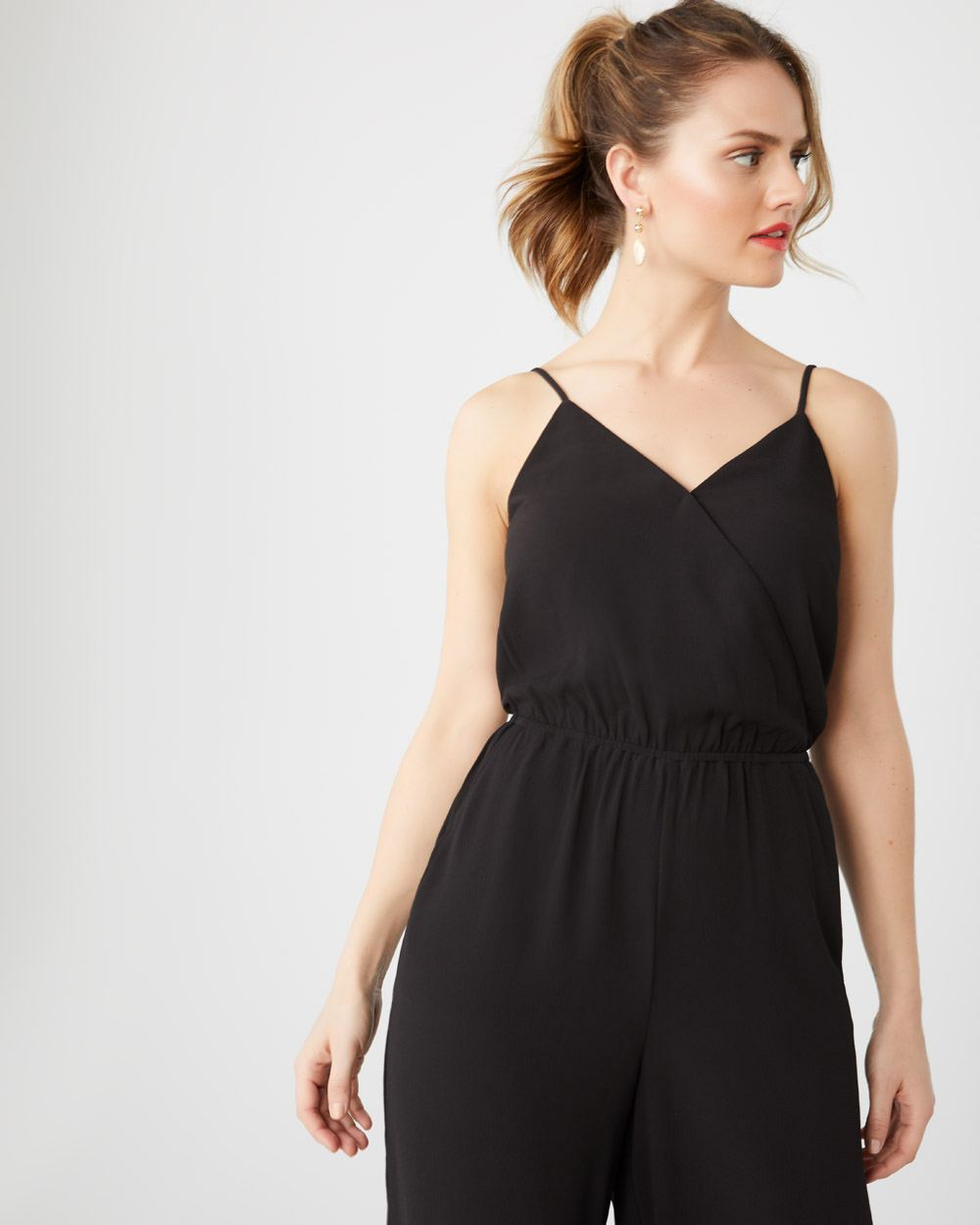 Crop wide leg jumpsuit with thin straps